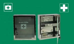 Edelstahl Erste-Hilfe-Schrank mit Glas-Tür