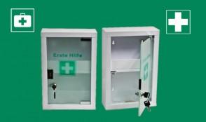 Erste-Hilfe-Schrank pulverbeschichtet mit Glastür