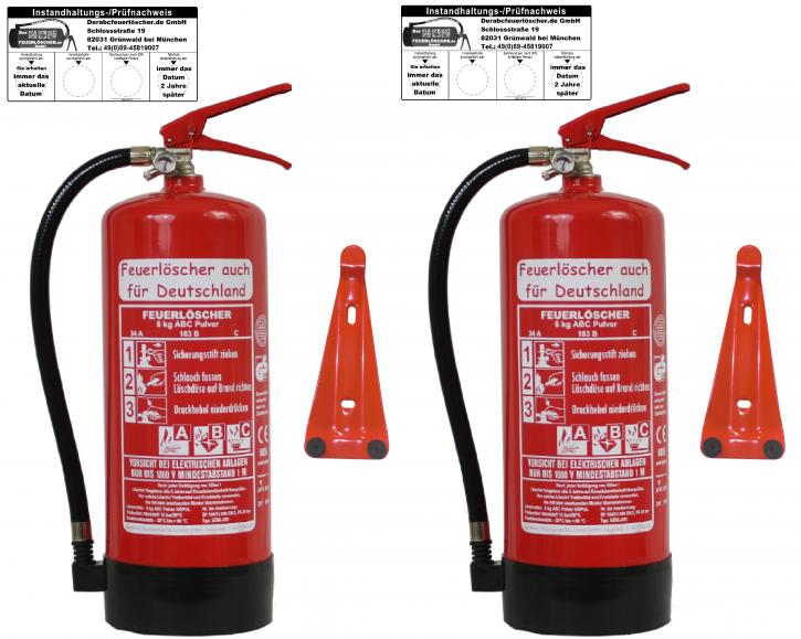 2er Pack 6 kg ABC-Pulver-Dauerdruck-Feuerlöscher DIN EN 3, SP 104/ 13, GS, außenliegendes Prüfventil Rating: 10 LE, 34 A, 183 B, mit oder ohne Instandhaltungsnachweis erhältlich!