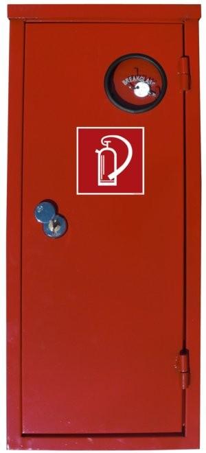 Stahlblechschutzschrank rot mit Schloß u. Scheibe für 6 kg Gerät