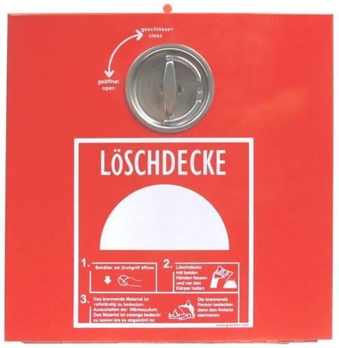 Löschdeckenbox aus Stahlblech rot,  L 30 x B 30 x T 15 cm, Plombierbar, Drehgriff