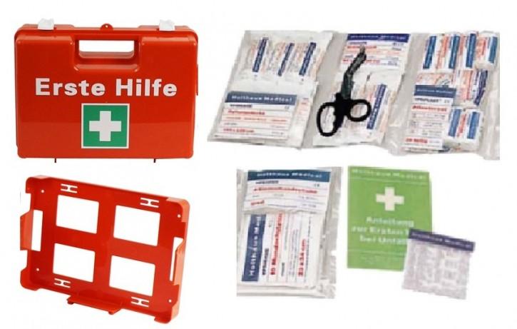 Erste-Hilfe-Koffer für Betriebe DIN 13157 PREMIUM Verbandkasten orange + Wandhalter + Füllung Ausführung 64- teilig mit Kühlpad Betriebsverbandkasten
