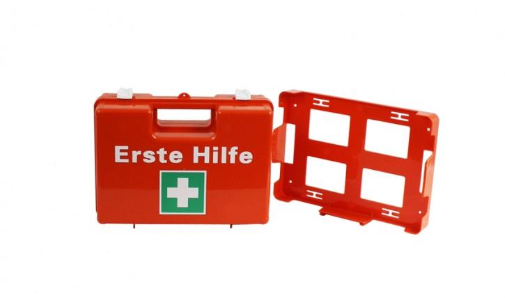 Erste-Hilfe-Koffer, Orange klein inkl. Wandhalterung leer
