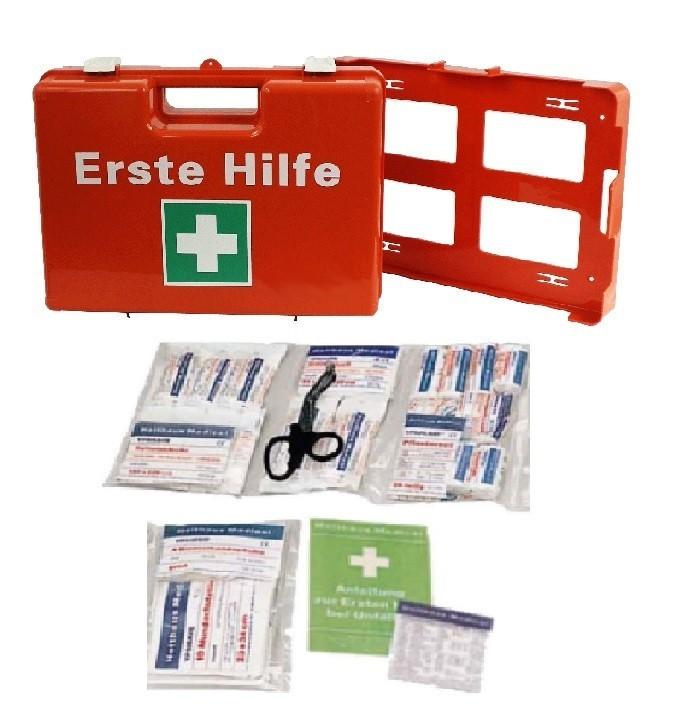 Erste-Hilfe-Koffer, Orange, mit Füllung DIN 13169 Gr. 38x27x14 cm,  inkl. Wandhalterung,
