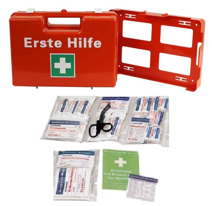 Erste- Hilfe- Koffer, Orange, M:32x22x12, mit Füllung DIN 13157 neue Ausführung 64- teilig mit Kühlpad plus Wandhalterung