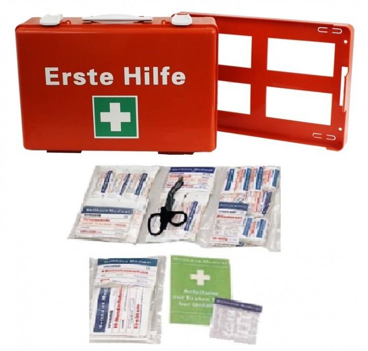 Erste- Hilfe- Koffer, OrangeM: 39x27, 5x13, mit Füllung DIN 13169 neue Ausführung 126- teilig mit Kühlpad plus Wandhalterung