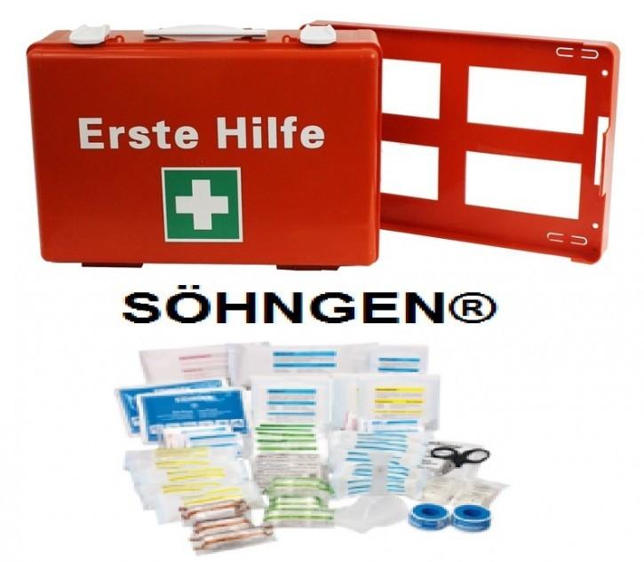 Erste-Hilfe-Koffer, in Orange, M: 39x27, 5x13, 5 cm,  mit Füllung DIN 13169 SÖHNGEN®, inkl. Wandhalterung,