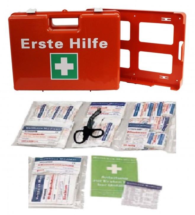 Erste- Hilfe- Koffer, Orange M: 43x30, 5x15 cm,mit Füllung DIN 13169 neue Ausführung 126- teilig mit Kühlpad + Wandhalterung,