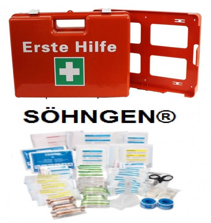 Erste- Hilfe- Koffer, Orange M: 43x30, 5x15 cm,mit Füllung DIN 13169 neue Ausführung 126- teilig mit Kühlpad + Wandhalterung