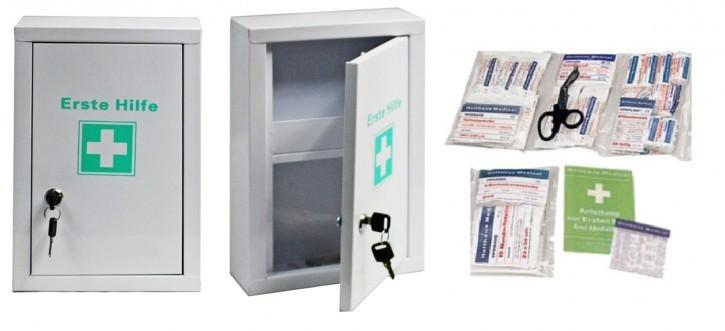 kleiner Erste- Hilfe- Schrank weiß pulverbeschichtet + Füllung DIN 13157 Ausführung 64- teilig mit Kühlpad Betriebsverbandkasten
