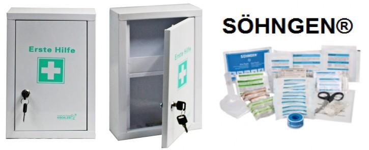 kleiner Erste-Hilfe-Schrank weiß pulverbeschichtet mit Füllung DIN 13157 SÖHNGEN