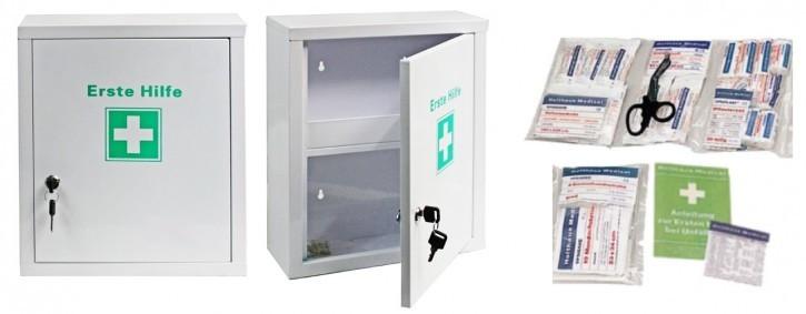 mittlerer Erste- Hilfe- Schrank pulverbeschichtet, Füllung DIN 13157