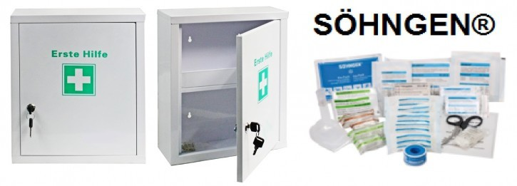 Erste- Hilfe- Schrank weiß pulverbeschichtet mit Füllung DIN 13157- SÖHNGEN®