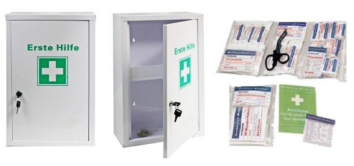 großer Erste- Hilfe- Schrank pulverbeschichtet, Füllung DIN 13157