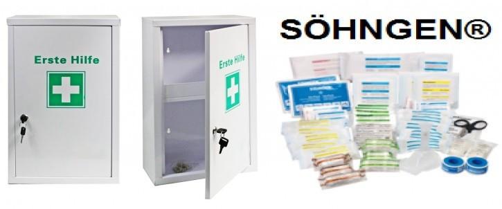 großer Erste- Hilfe- Schrank pulverbeschichtet, mit Füllung von SÖHNGEN®  DIN 13169