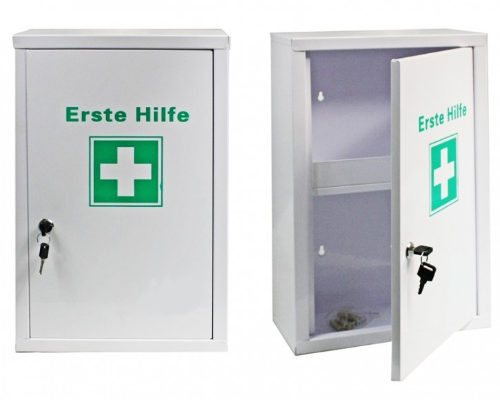großer Erste- Hilfe- Schrank weiß pulverbeschichtet- leer-