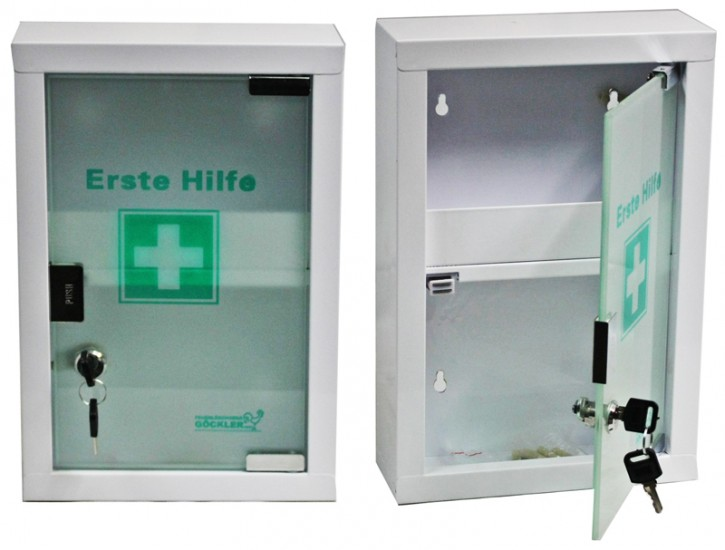 kleiner Erste- Hilfe- Schrank weiß pulverbeschichtet mit Glastür- leer-