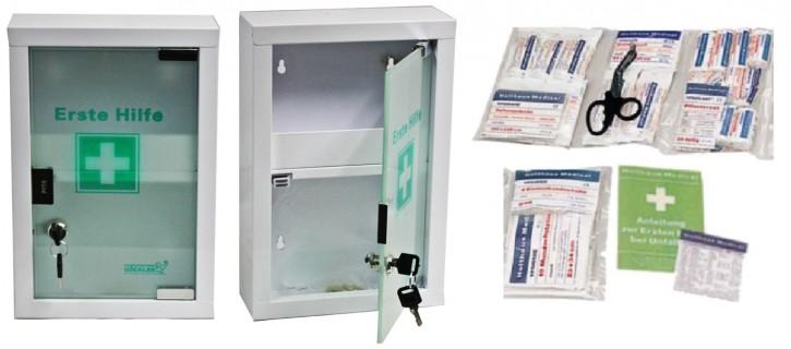 kleiner Erste- Hilfe- Schrank weiß pulverbeschichtet mit Glastür leer - mit Füllung DIN 13157-