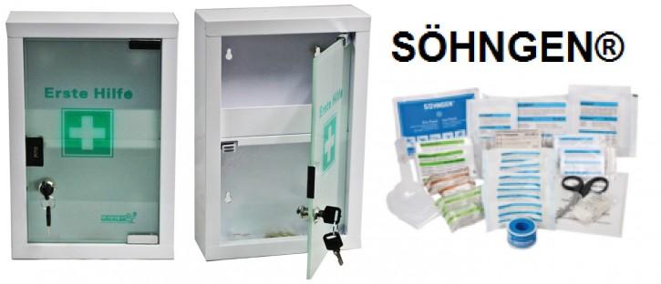 kleiner Erste- Hilfe- Schrank weiß pulverbeschichtet mit Glastür leer- mit Füllung DIN 13157- SÖHNGEN®
