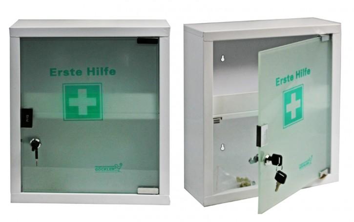 mittlerer Erste- Hilfe- Schrank weiß pulverbeschichtet mit Glastür- leer-