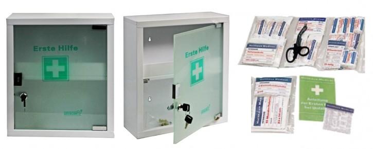 mittlerer Erste- Hilfe- Schrank weiß pulverbeschichtet mit Glastür leer- mit Füllung DIN 13169-