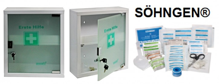 mittlerer Erste- Hilfe- Schrank weiß pulverbeschichtet mit Glastür leer - mit Füllung DIN 13157- SÖHNGEN®