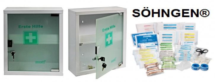 mittlerer Erste- Hilfe- Schrank weiß pulverbeschichtet mit Glastür leer- mit Füllung DIN 13169- SÖHNGEN®