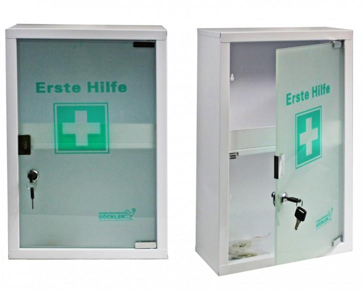 großer Erste- Hilfe- Schrank weiß pulverbeschichtet mit Glastür- leer-