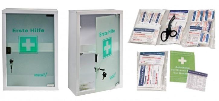 großer Erste- Hilfe- Schrank weiß pulverbeschichtet mit Glastür leer - mit Füllung DIN 13157-