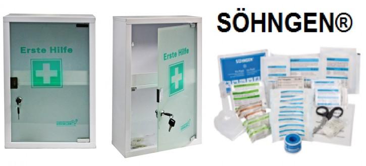 großer Erste- Hilfe- Schrank weiß pulverbeschichtet mit Glastür leer- mit Füllung DIN 13157- SÖHNGEN®