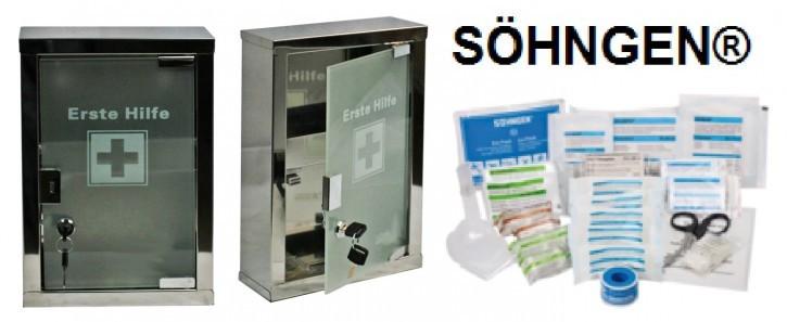 Erste-Hilfe-Schrank aus Edelstahl mit Glastür & SÖHNGEN® Füllung DIN 13157