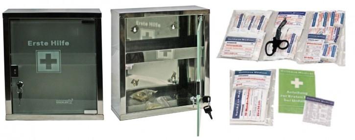 mittlerer Erste- Hilfe- Schrank Edelstahl 410 mit Glastür- mit Füllung DIN 13169-