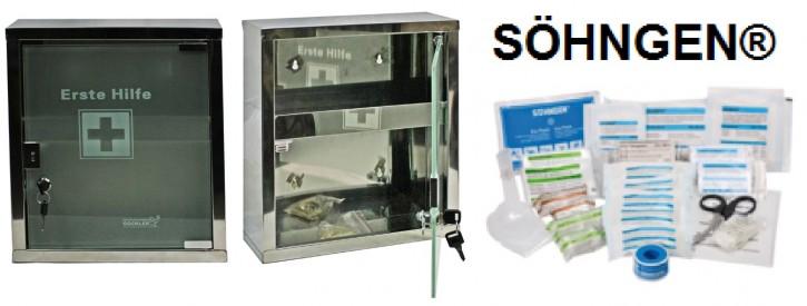 mittlerer Erste- Hilfe- Schrank Edelstahl 410 mit Glastür- mit Füllung DIN 13157- SÖHNGEN®
