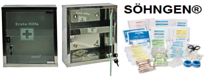 mittlerer Erste- Hilfe- Schrank Edelstahl 410 mit Glastür- mit Füllung DIN 13169- SÖHNGEN®