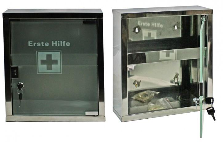 Erste- Hilfe- Schrank  aus Edelstahl mit Glastür- leer- medium