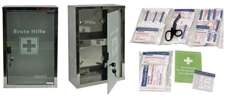 großer Erste- Hilfe- Schrank Edelstahl 410 mit Glastür - mit Füllung DIN 13157-