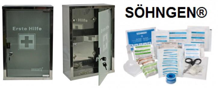 großer Erste- Hilfe- Schrank Edelstahl 410 mit Glastür- mit Füllung DIN 13157- SÖHNGEN®