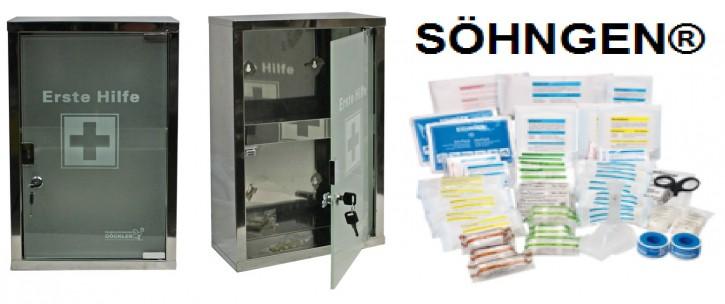 großer Erste- Hilfe- Schrank Edelstahl 410 mit Glastür- mit Füllung DIN 13169-