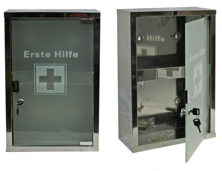 Erste- Hilfe- Schrank  aus Edelstahl mit Glastür- leer- large