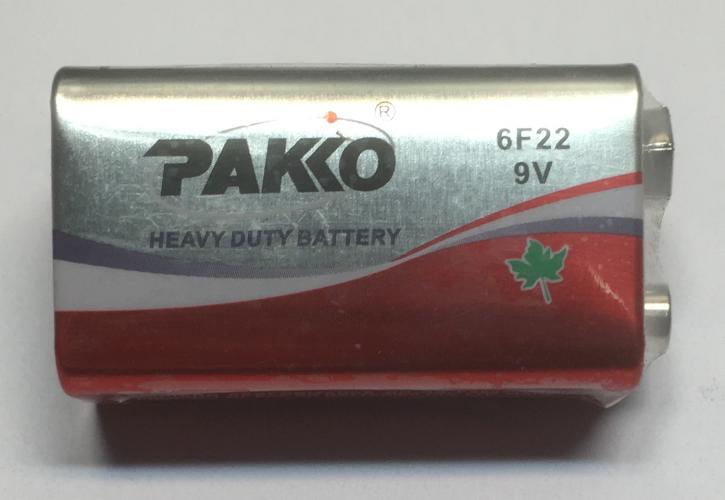 9 Volt Blockbatterie Pakko 6F 22