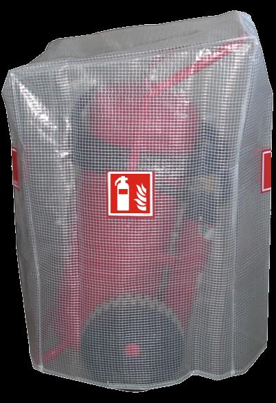 Gitternetzschutzhaube für 50 kg /L Feuerlöscher Löschwagen fahrbar mit aufgenähtem ! ISO Feuerlöscher-Symbol