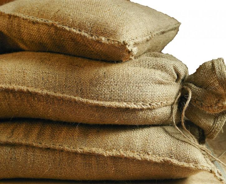 10 x Sandsack aus Jute 20kg (30 x 60 cm)  Hochwasser Sandsack Dammschutz  -ungefüllt-