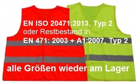 Warnwesten / Sicherheits-Weste EN ISO 20471:2013, Typ 2,  Gelb oder Orange von XXS- XXXXL