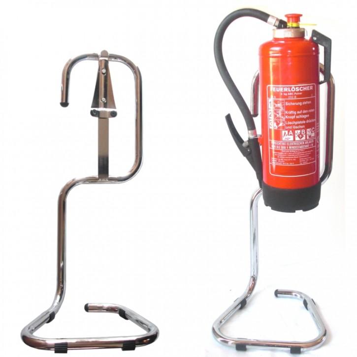 Feuerlöscher- Rohrstahlständer chrom rund gebogen