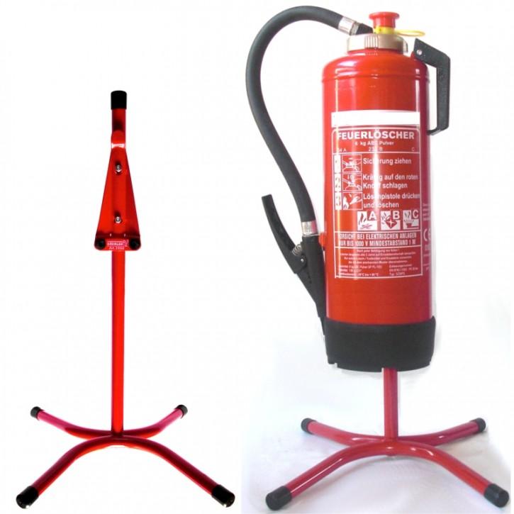 Feuerlöscher-Ständer gerade Rohrstahl in rot