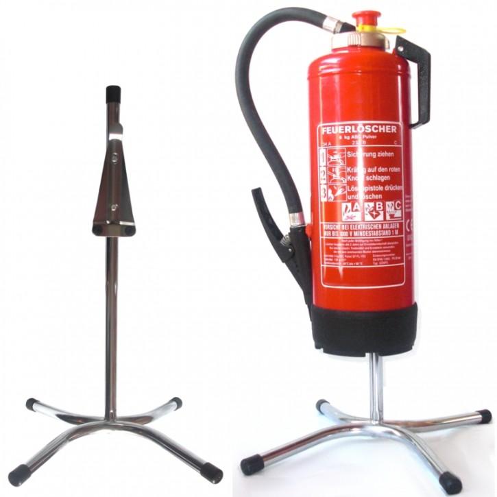 Feuerlöscher-Ständer gerade Rohrstahl chrom mit X - Fuß