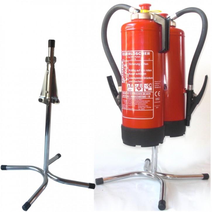 Doppel-Feuerlöscher-Ständer gerade Rohrstahl rot