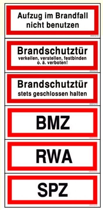 RWA/ BMZ/ SPZ/ Aufzug/ Brandschutztür....- Schilder DIN 4066 Brandschutzzeichen, Brandschutzschild, Hinweisschild