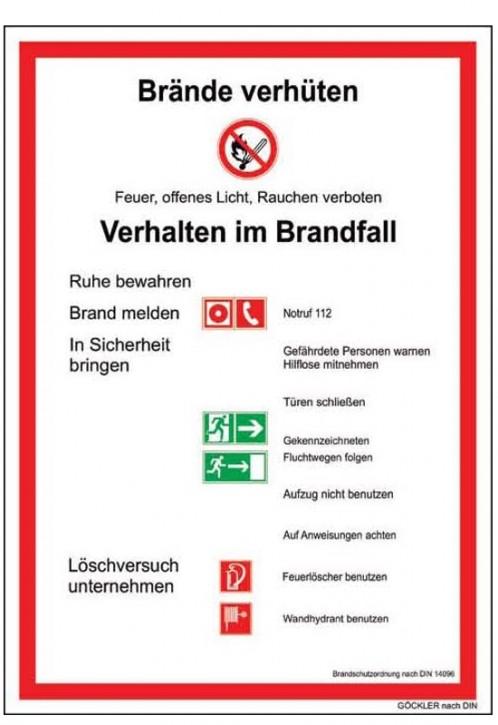 Brandschutzordnung Brände verhüten- Schild DIN 14096