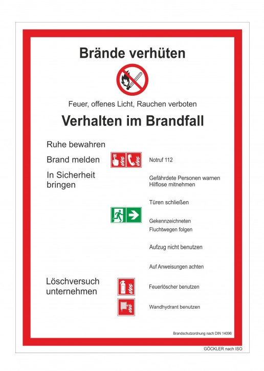 Brandschutzordnung ISO Brände verhüten- Schild DIN 14096